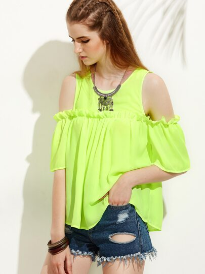 Green Cold Shoulder Pleated Half Sleeve Blouse