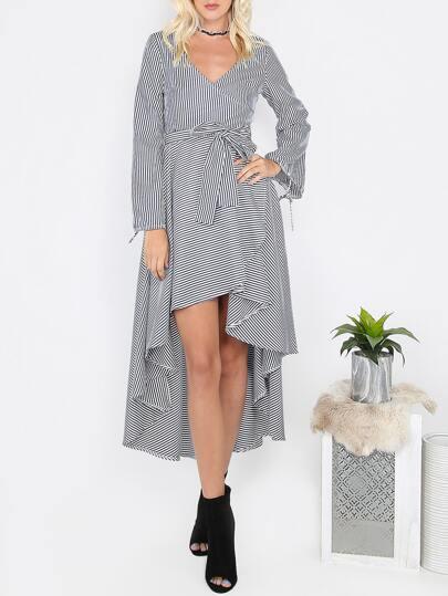 Pinstripe Hi-Lo Long Sleeve Dress NAVY