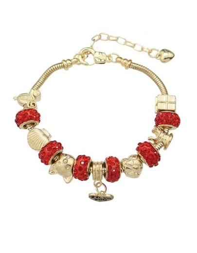 Red Rhinestone Beads Charms Bracelet