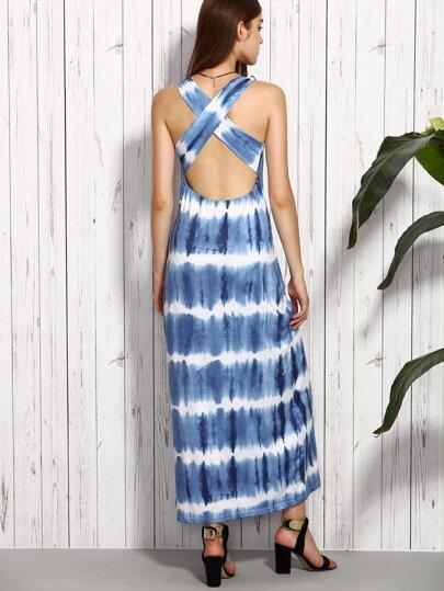 Blue Tie-dye Criss Cross Back Cutout Dress