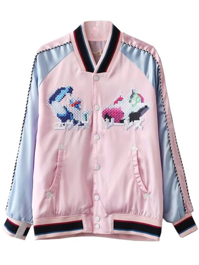Pink Rib-knit Cuff Embroidery Button Jacket