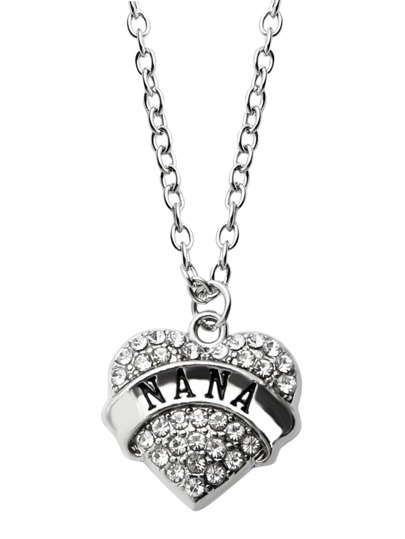 Silver Rhinestone Encrusted Heart Pendant Necklace