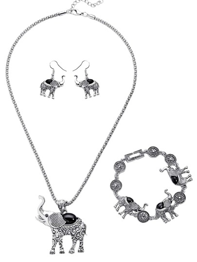 Silver Plated Black Elephant Turquoise Jewelry Set