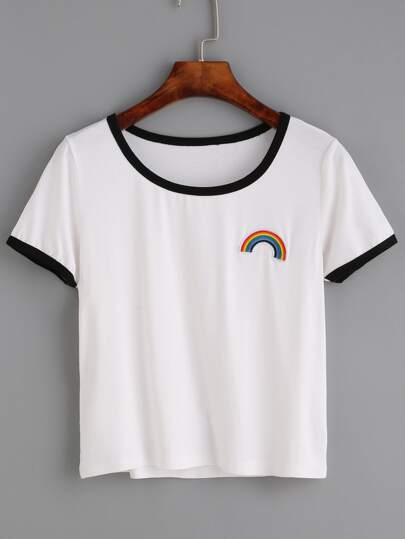 White Contrast Trim Rainbow Embroidered T-shirt