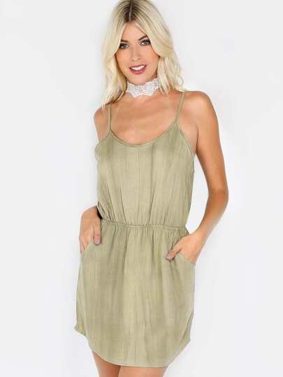 Spaghetti Strap Pocket Dress SAGE