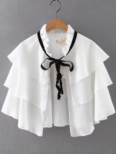 White Tiered Self Tie Crop Blouse