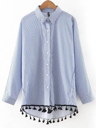 Blue And White Stripe High Low Tassel Blouse
