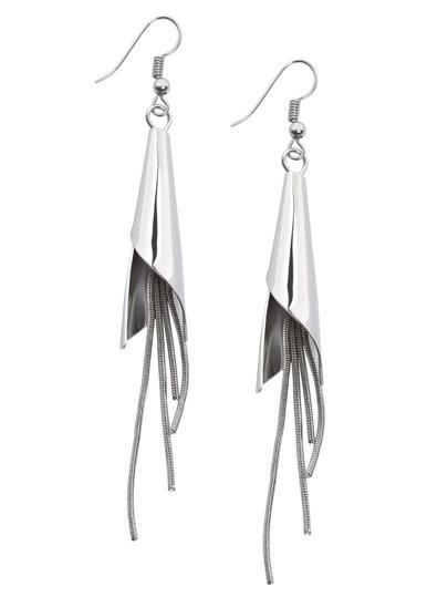 Silver Metal Tassel Earrings