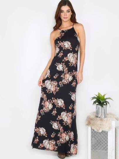 Square Neck Floral Maxi Dress BLACK