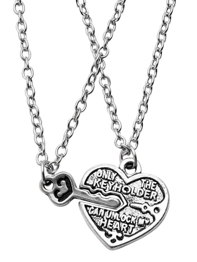 Silver Heart and Key Relief Pendant Necklace Set