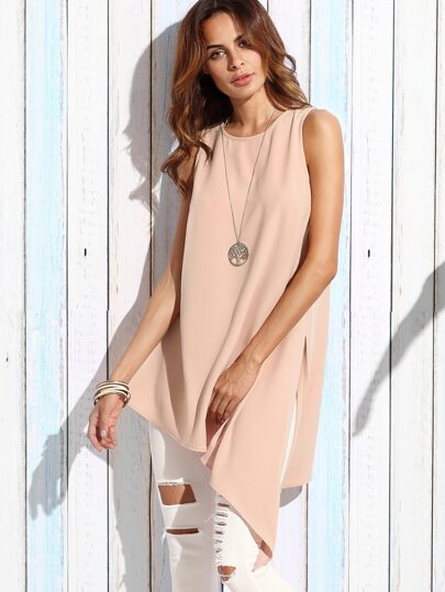 Pink Round Neck Split Side Asymmetrical Tank Top