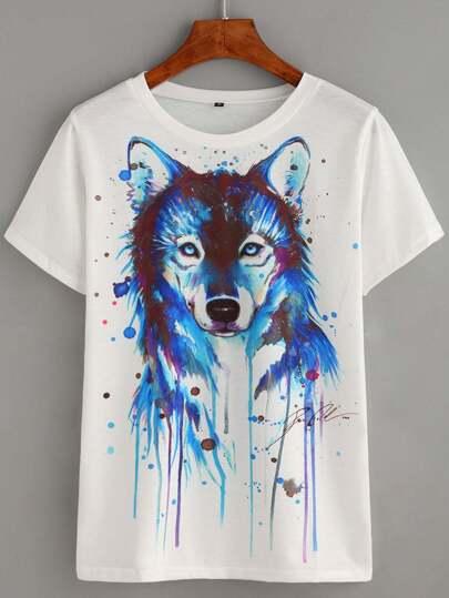 White Wolf Head Print T-shirt