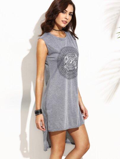 Kleid Vorne Kurz Hinten Lang mit Kreis Druck - grau