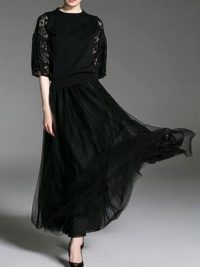 Black Contrast Lace Top With Gauze Skirt