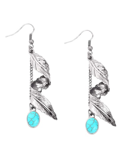 Silver Leaf Turquoise Embellished Drop Earrings