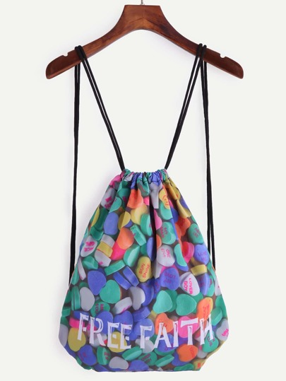 Multicolor Heart Candy Print Drawstring Backpack