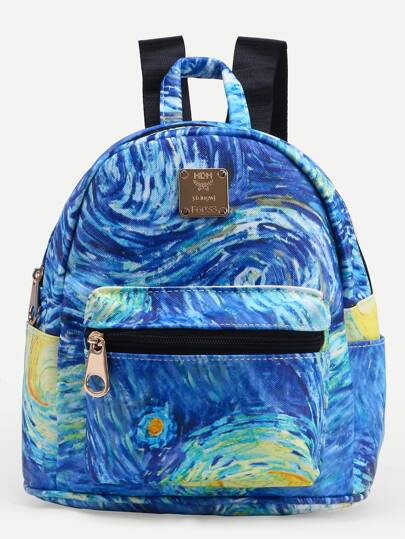Rucksack Kunstleder mit Druck - blau