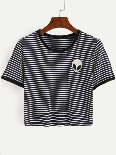 Saucerman Embroidered Contrast Trim T-shirt