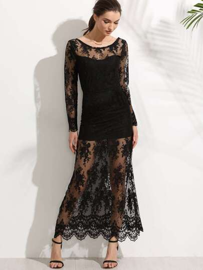 Black V Back Embroidered Lace Overlay Dress
