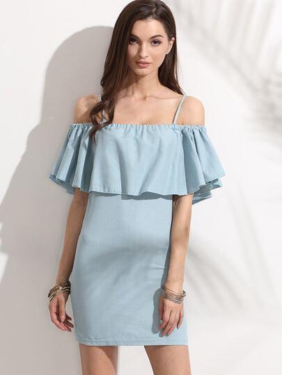 Blue Cold Shoulder Ruffle Sheath Dress