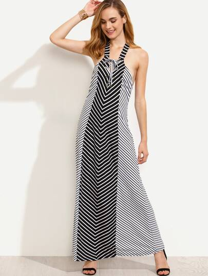 Black White Diagonal Striped Backless Lace Up Dress