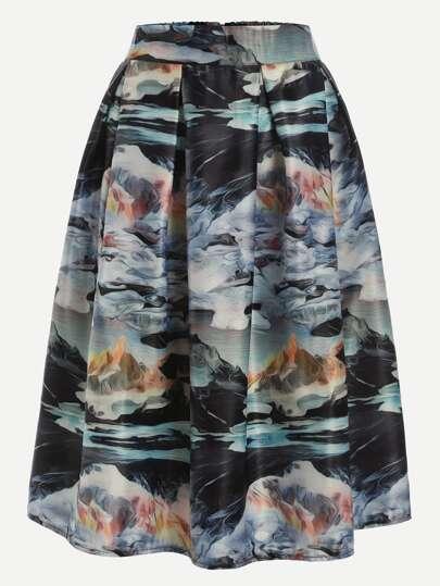 Multicolor Print Zipper Flare Skirt