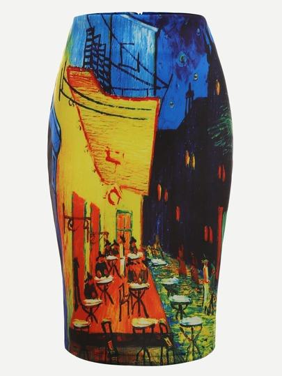 Multicolor Print Zipper Pencil Skirt