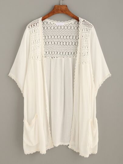 Beige Crochet Hollow Pockets Kimono