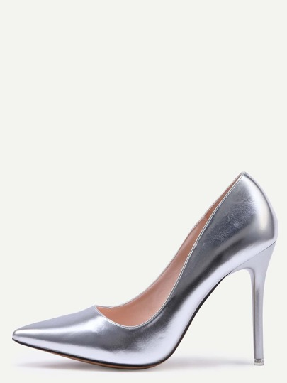 Silver Pointed Toe Stiletto Heels