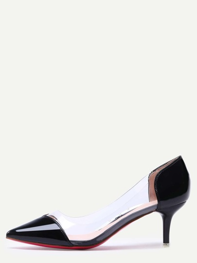 Black Pointed Toe Block Stiletto Heels