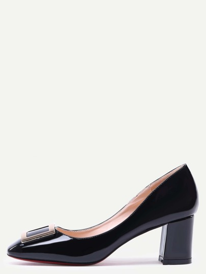 Black Square Toe Metal Decorated Chunky Pumps