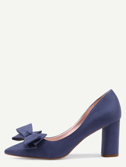 Blue Pointed Toe Bow Chunky Pumps