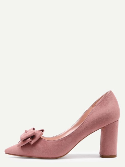 Pink Pointed Toe Bow Chunky Pumps