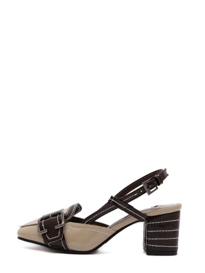 Vintage Square Toe Buckle Strap Chunky Pumps