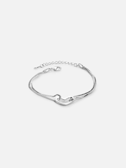 Silver Hear-shaped Bracelet