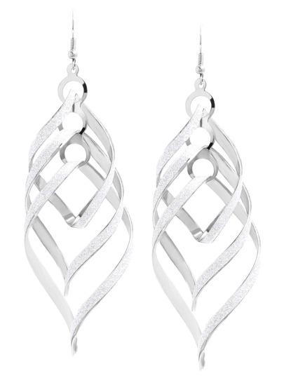 Silver Geometric Matte Drop Earrings