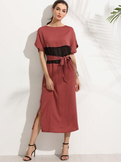 Red Belted Contrast Mesh Insert Shift Dress