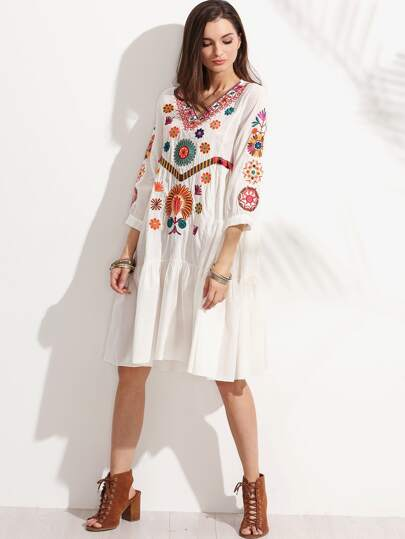 Embroidered Shirt Sleeve White Tiered Dress