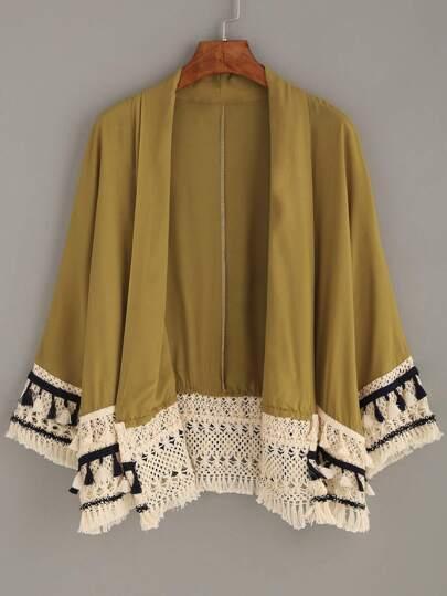 Kimono décontracté avec franges - jaune
