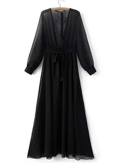 Black V Neck Chiffon Maxi Dress With Belt