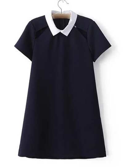 Navy Peter Pan Collar Cutout Zipper Dress
