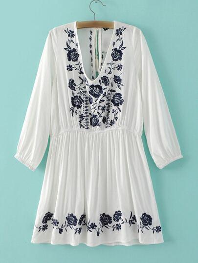 White Elastic Cuff Embroidery Tassel Tie Back Dress