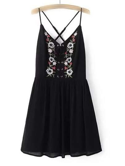 Black Spaghetti Strap Embroidery Criss Cross Dress