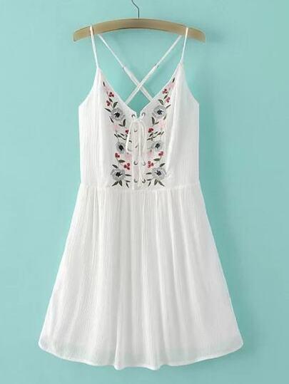 White Spaghetti Strap Embroidery Criss Cross Dress