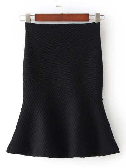 Black High Waist Fishtail Skirt
