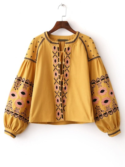 Yellow Lantern Sleeve Self Tie Embroidery Blouse