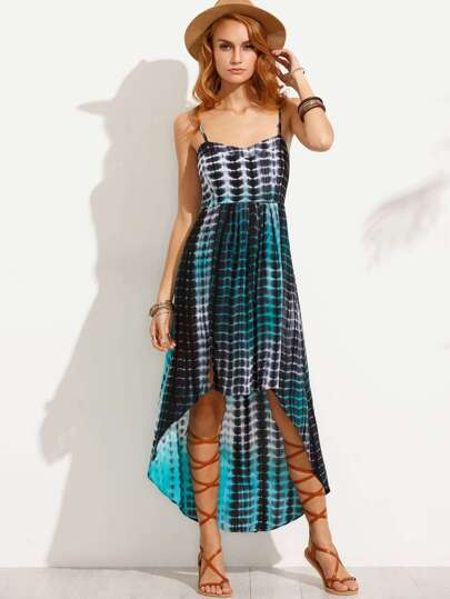 Multicolor Tie Dye Print High Low Cami Dress