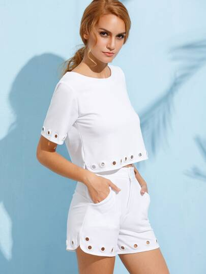 White Eyelet Trim Top With Shorts