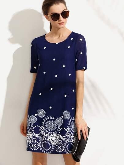 Navy Print Polka Dot Short Sleeve Dress