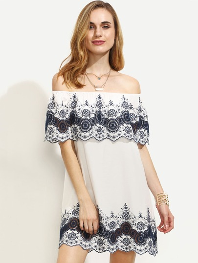 White Embroidered Ruffle Off The Shoulder Dress